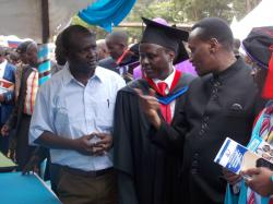 Prof. Jacob Kaimenyi in one of KU stand during Embu County Career Fair