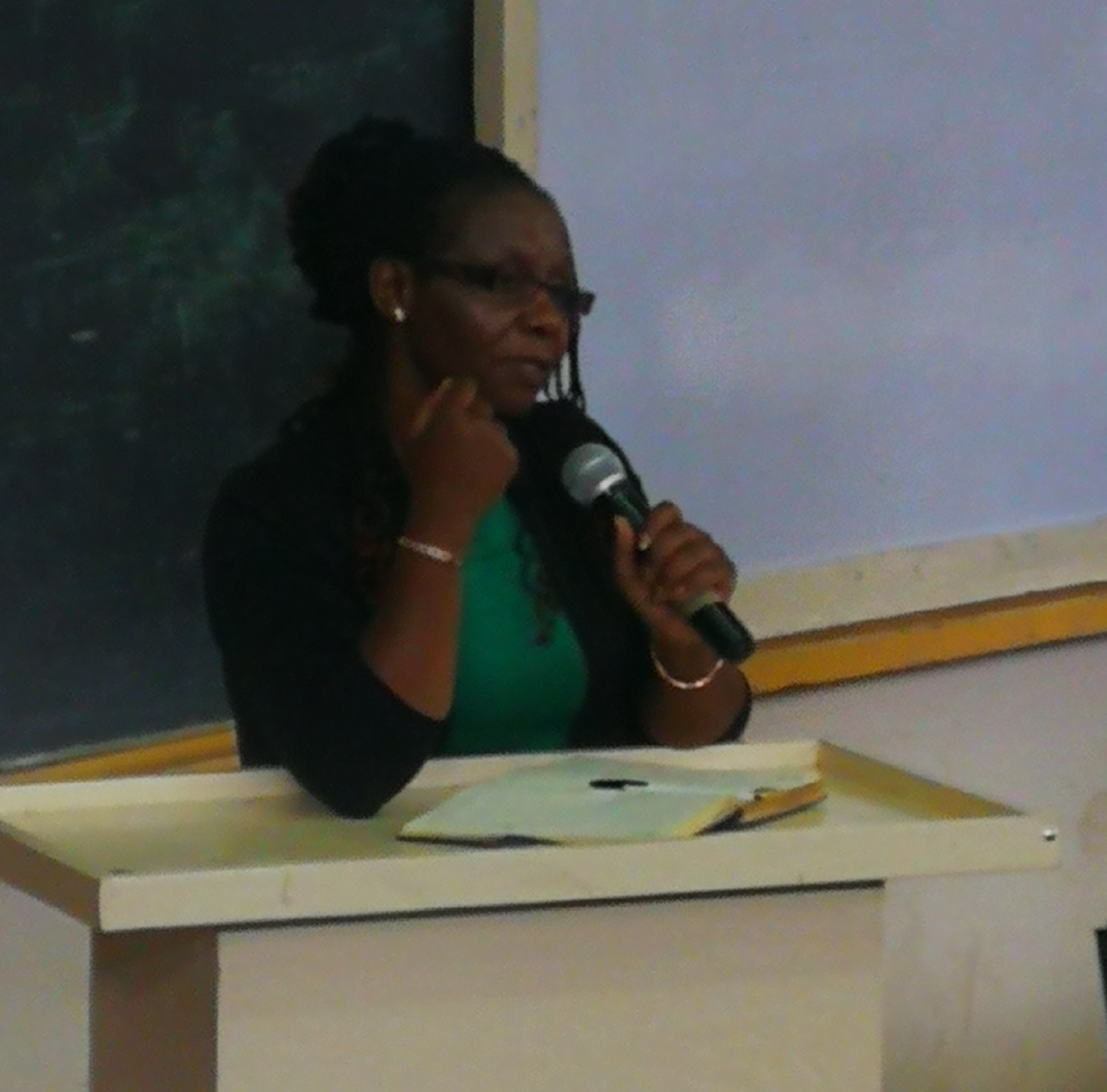 DR. RHODA GITONGA GIVING HER REMARKS ON USE OF LMS AND SMART DEVICE USE.