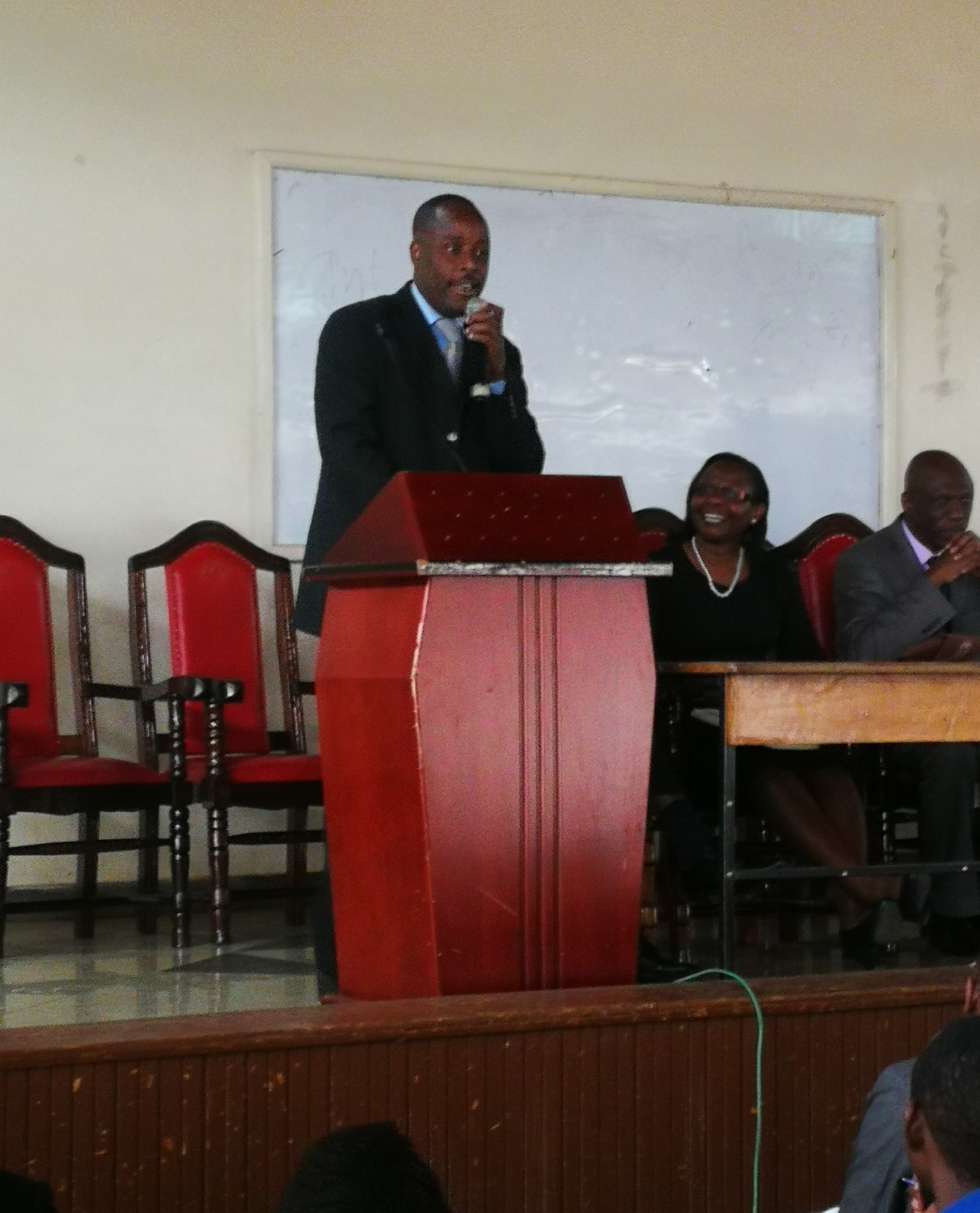 Dr. Hamisi Babusa, standing in for the DVC Academics. And Registrar, issuing his remarks.