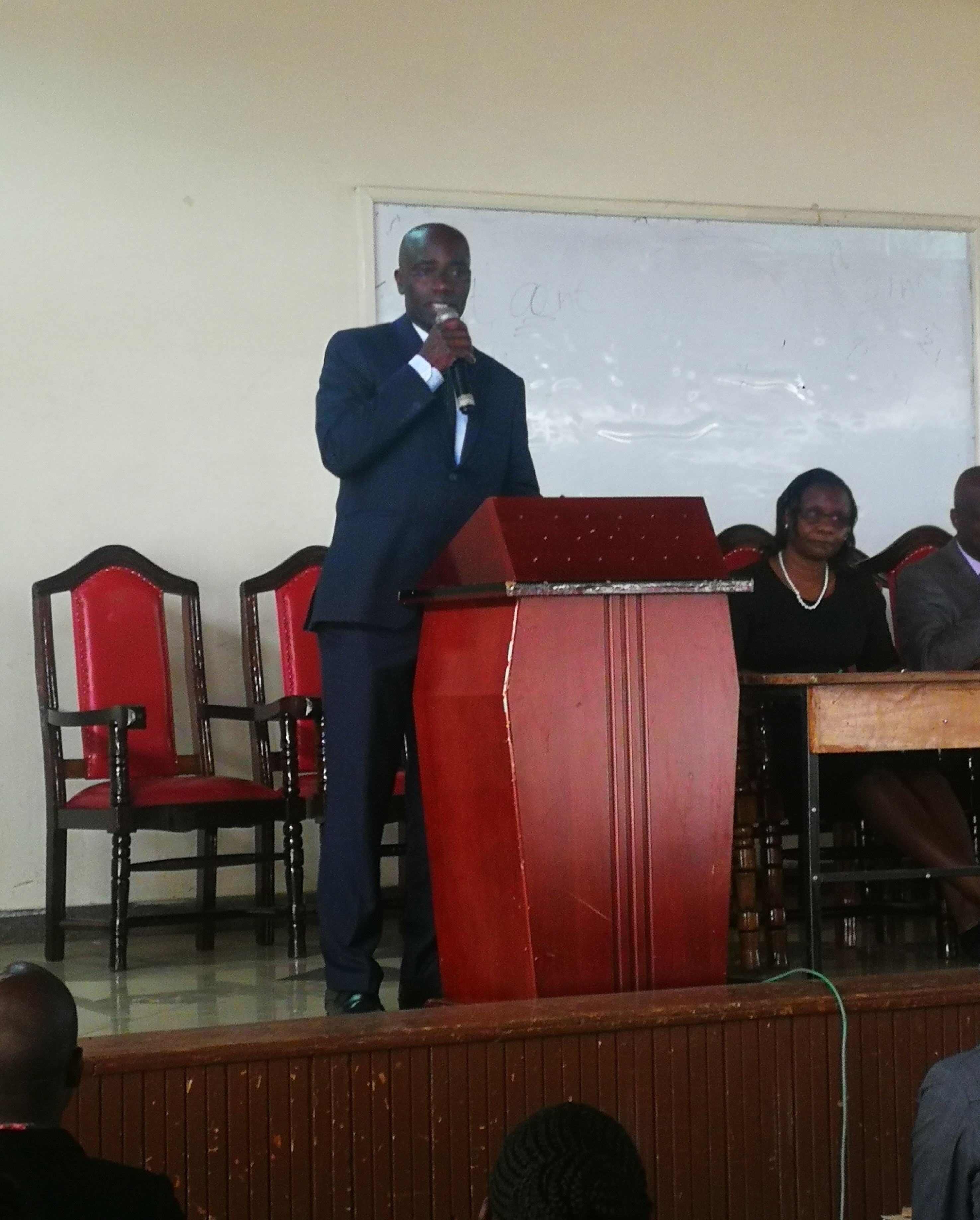 Dr. Eric Masika, Coordinator-In-Charge of Blended Learning giving openning remarks.