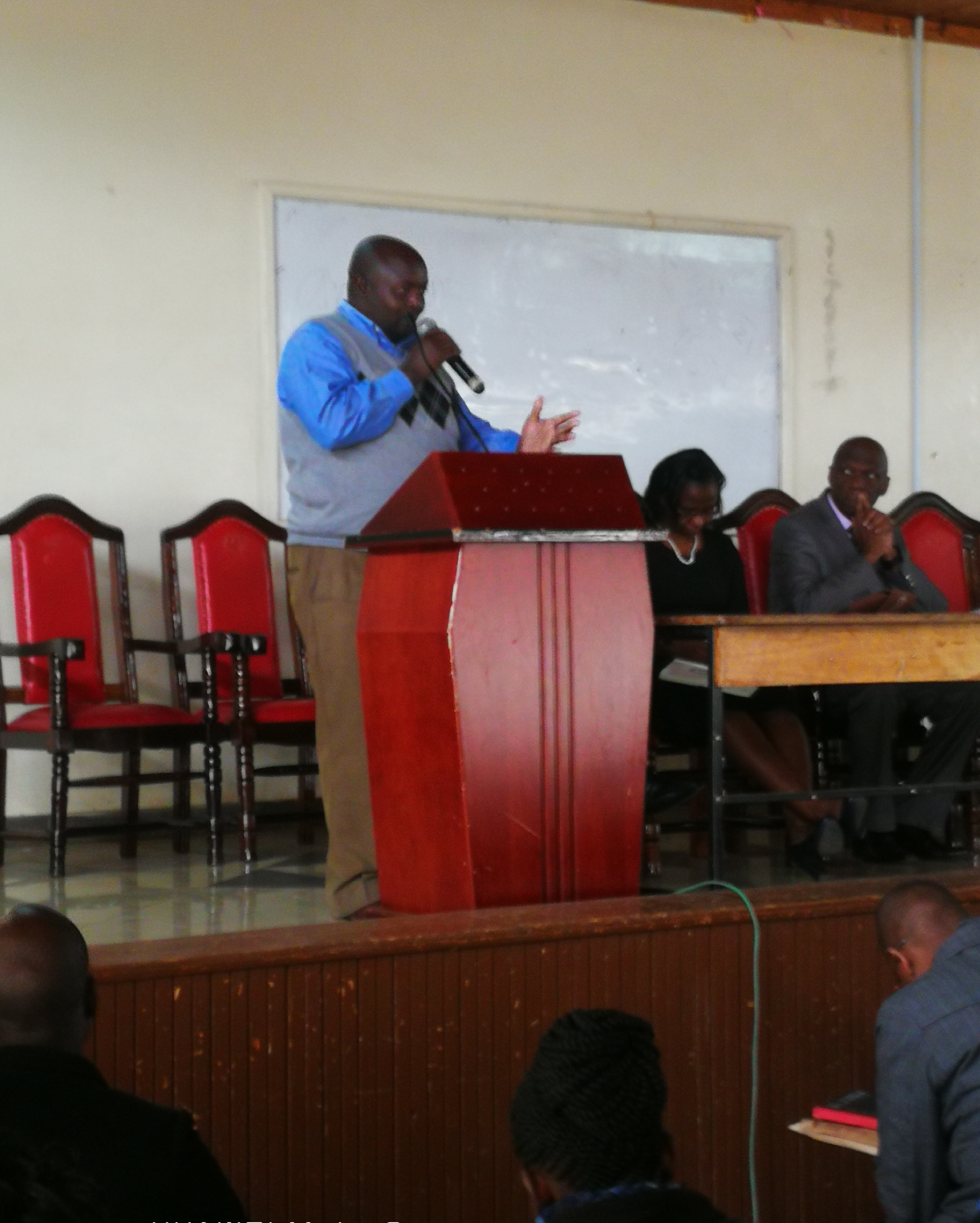 Mr. Patrick Opondo from K.U. admissions orienting the new students on K.U.s admission procedures.