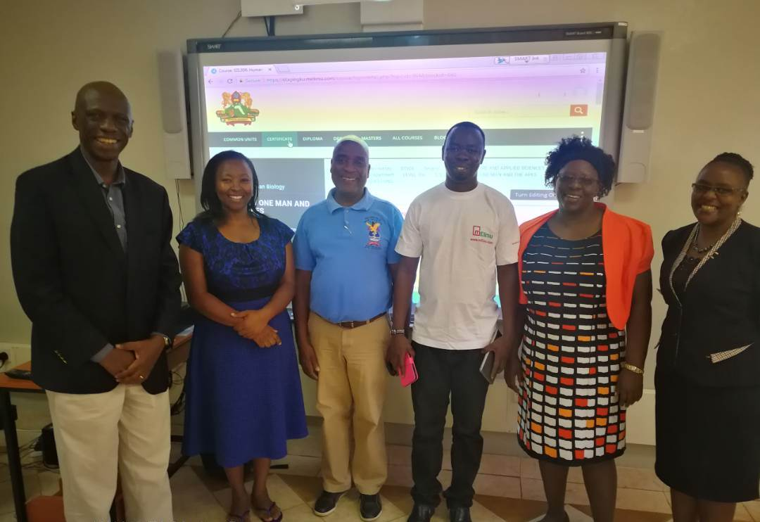 From Left, Dean DSVOL-Dr. Onyango, Ms Esther Mutave-DSVOL, Prof. Jack Mukaza, Mr. George Ominde, Prof. Tiodora Mapemba and Ms Caroline Kitheka-DSVOL