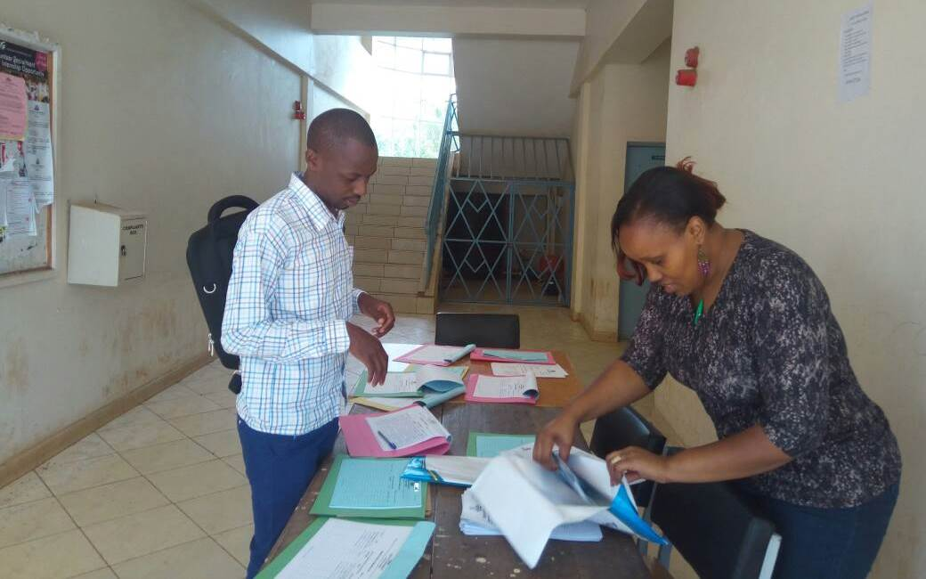 Registration of students as they arrive for the orientation exercise.
