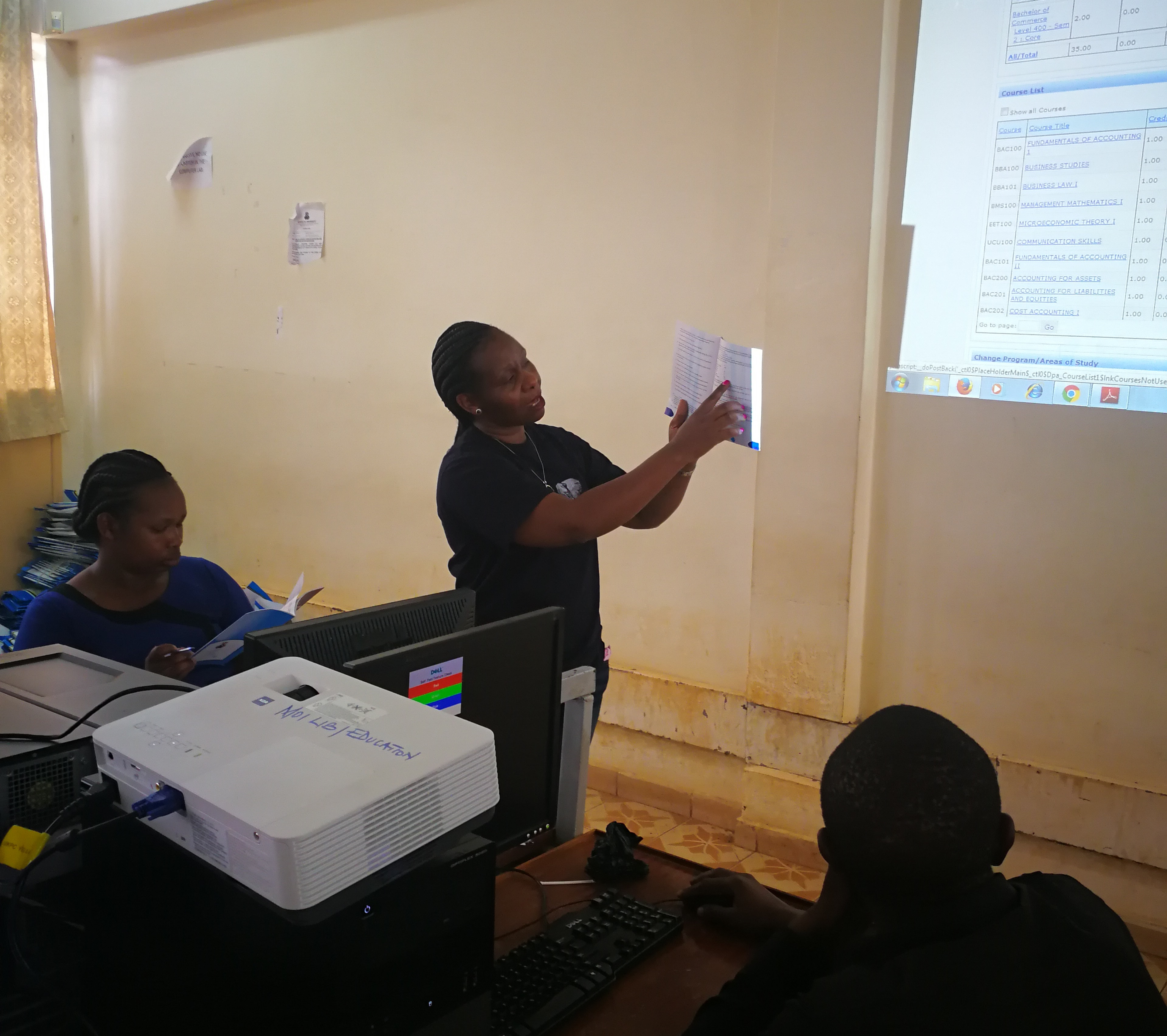 DSVOL-Dr. Rhoda Gitonga explaining different functionalities of the school online Infrastructure