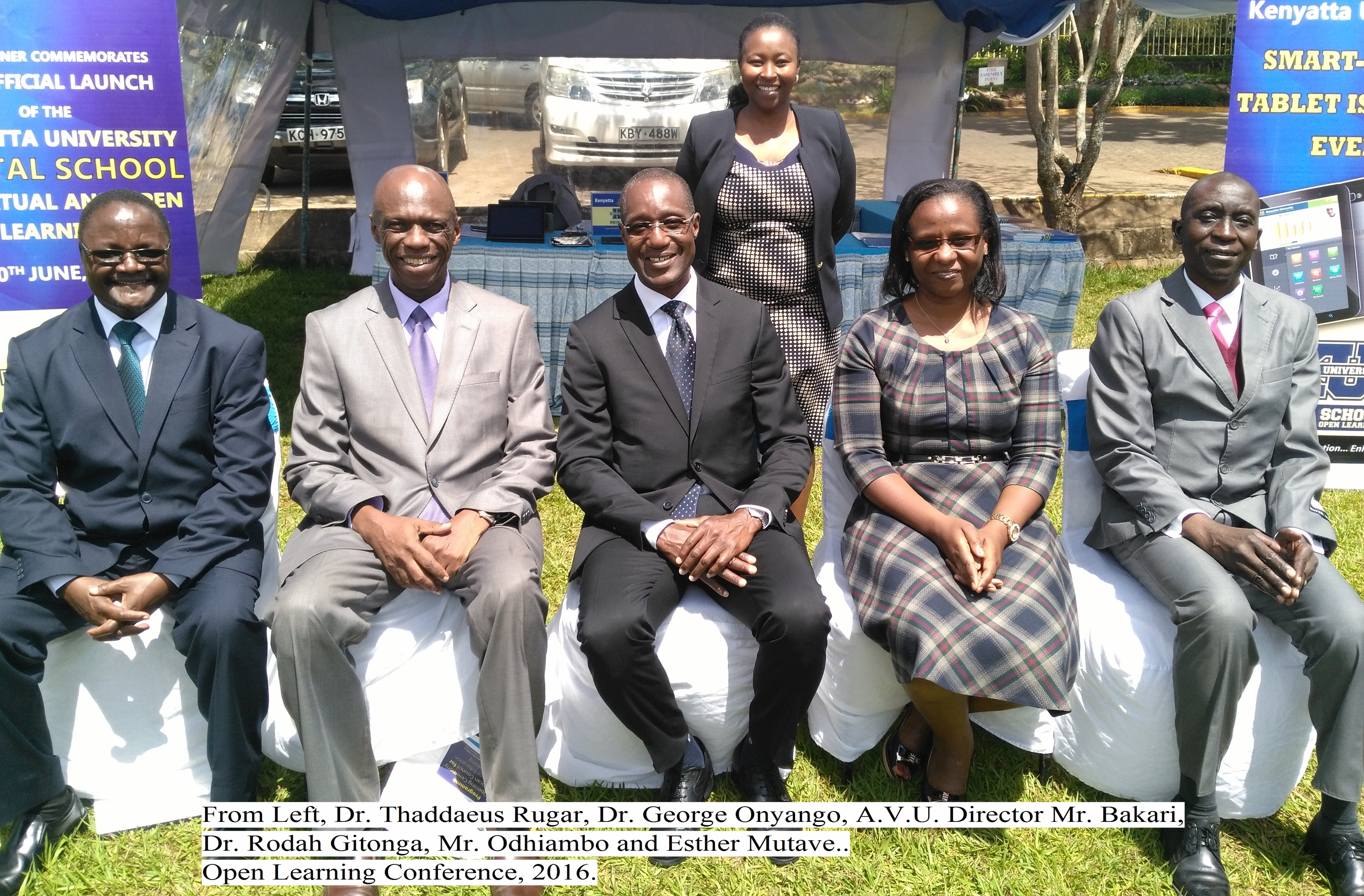 From Left, Dr. Thaddaeus Rugar,Dr. George Onyango, African Virtual University Rector; Dr. Bakari Diallo,Dr. Rhoda Gitonga,Mr. Odhiambo and Esther Mutave