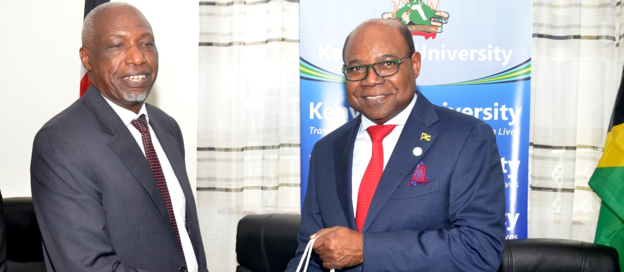 Right: Hon. Edmond Bartlett, Minister of Tourism, Jamaica and Prof Paul Wainaina, Vice Chancellor, KU during the Minister's visit to KU in December 2019.