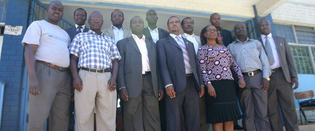 Prof James K Gatoto (Fourth Right) and the Deputy Director Dr. Abel Anyieni (Third Right)