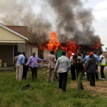 Protesters burn Syokimau AP camp where murdered lawyer was held