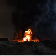 Bizarre war strategy; ISIl lights toxic fires