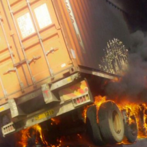 Snarl-up as truck bursts into flames