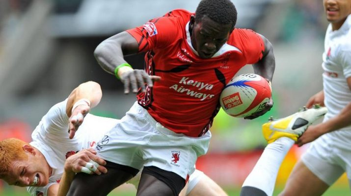 Oscar Ouma is tackled during in their Sevens match against England