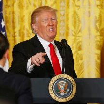 Trump bashes 'out of control' media in first solo news conference