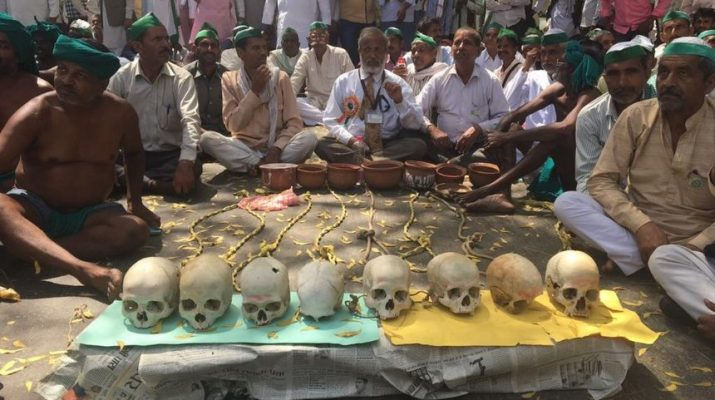 Indian farmers protest with human skulls, rats over drought
