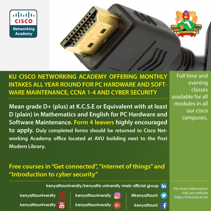 KENYATTA UNIVERSITY CISCO NETWORKING ACADEMY MONTHLY INTAKE ALL YEAR ROUND (2017)