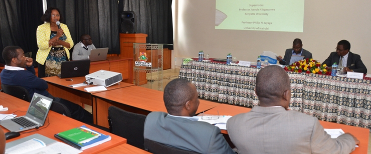 Susan Gathua a PhD. candidate gives her presentation during the 35th Postgraduate Seminar