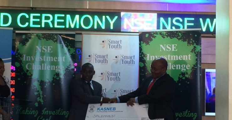 Joseph Munyao, Kenyatta university student city campus emerged top in the NSE challenge and won a KES 300,000 cash prize.