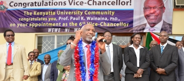 Elated members of staff and students give Prof. Paul Wainaina a rousing welcome as the new Vice Chancellor of KU