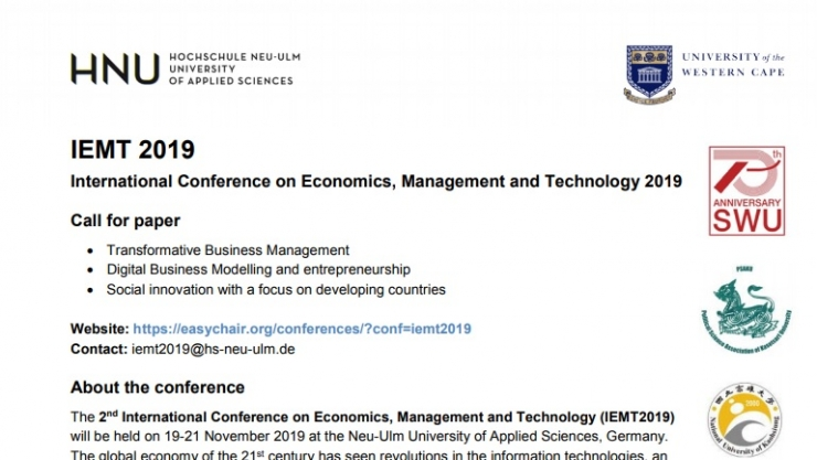 IEMT 2019 International Conference on Economics, Management and Technology 2019