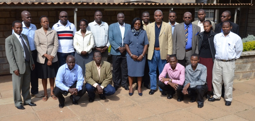 A section of SAED members of staff pose for a group   photo during the School Curriculum Development retreat at KUCC